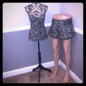 Plaid Skull Print Matching Corset Top & Skirt Set!